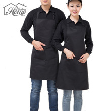 Adjustable Chef Waiter Aprons Black Bib Apron With Pockets Cooking Kitchen Work Dining Baking Art work Aprons Antifouling Wear