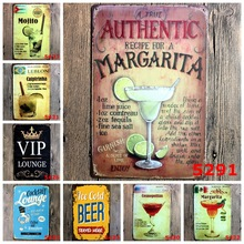 New Arrival! 3pcs/lot 20*30cm Cocktail Beer Time Lounge Metal Tin Sign Wall Decoration Board Retro Pub & Bar Tin Poster Painting(China)