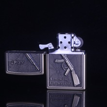 Military gun Bronze kerosene lighter, metal lighters, cigarette lighter. Men gifts. Christmas gifts,(China)