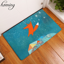 Homing Light Thin Soft in Front of Door Mats Cute Cartoon Flying Travel Fox Mats Water Absorption Bathroom Anti Slip Rugs Decor