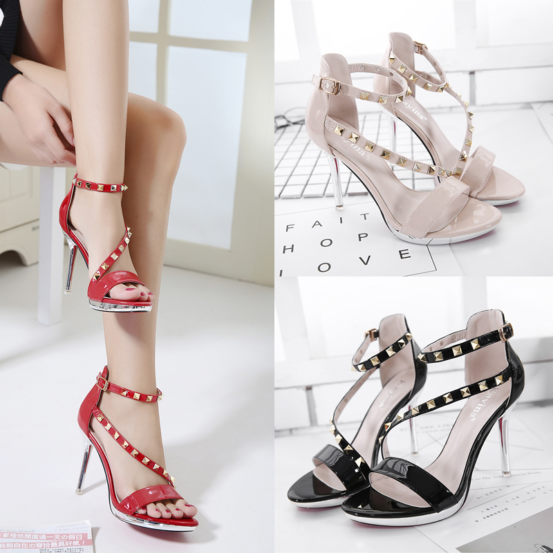 womens sandals rivet strappy heels women summer shoes red Wedding sandals party shoes nude heels high heels sandals women X381<br><br>Aliexpress