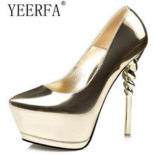 YEERFA Women high heels shoes 2017 gold pumps women party shoes platform pumps silver wedding shoes stiletto heels dress shoes(China)