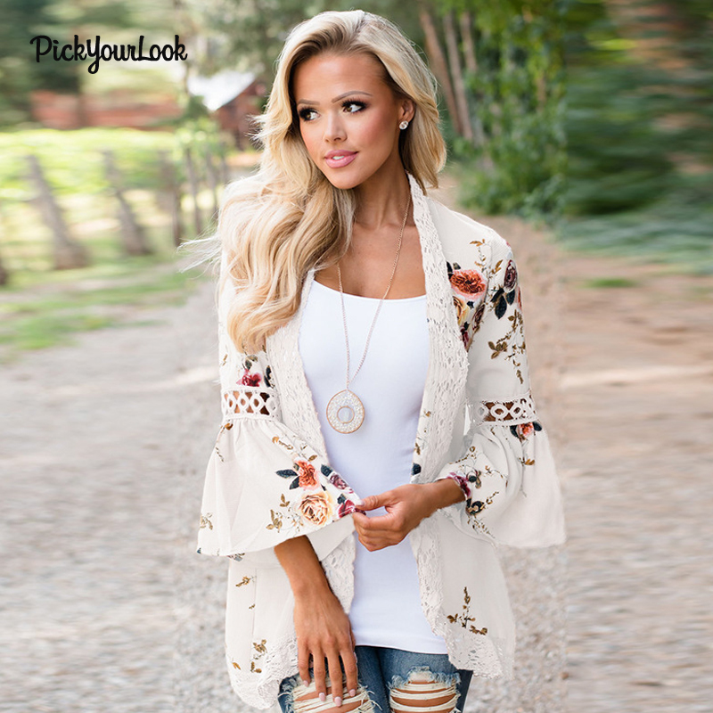 PickyourLook Women Plus Size Cardigan Long Sleeve Print Tops Lace Cardigan  Autumn Patchwork Lady Floral Kimono Cardigan Outwear  aa880323b