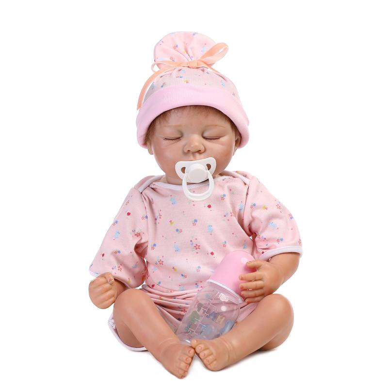 UCanaan 50-55cm Closed Eeys Silicone Reborn Baby Doll Lifelike Baby Toys Handmade implants hair Soft Body Play House Best Gift<br><br>Aliexpress
