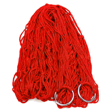 LHBL RED Nylon Hammock Hanging Mesh Net Sleeping Bed Swing Outdoor
