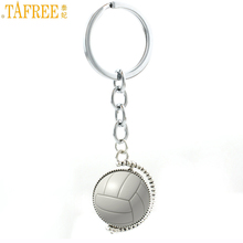 TAFREE trendy summer sports men women beach volleyball pendant key chain ring holder double sides photo jewlery keychain SP688