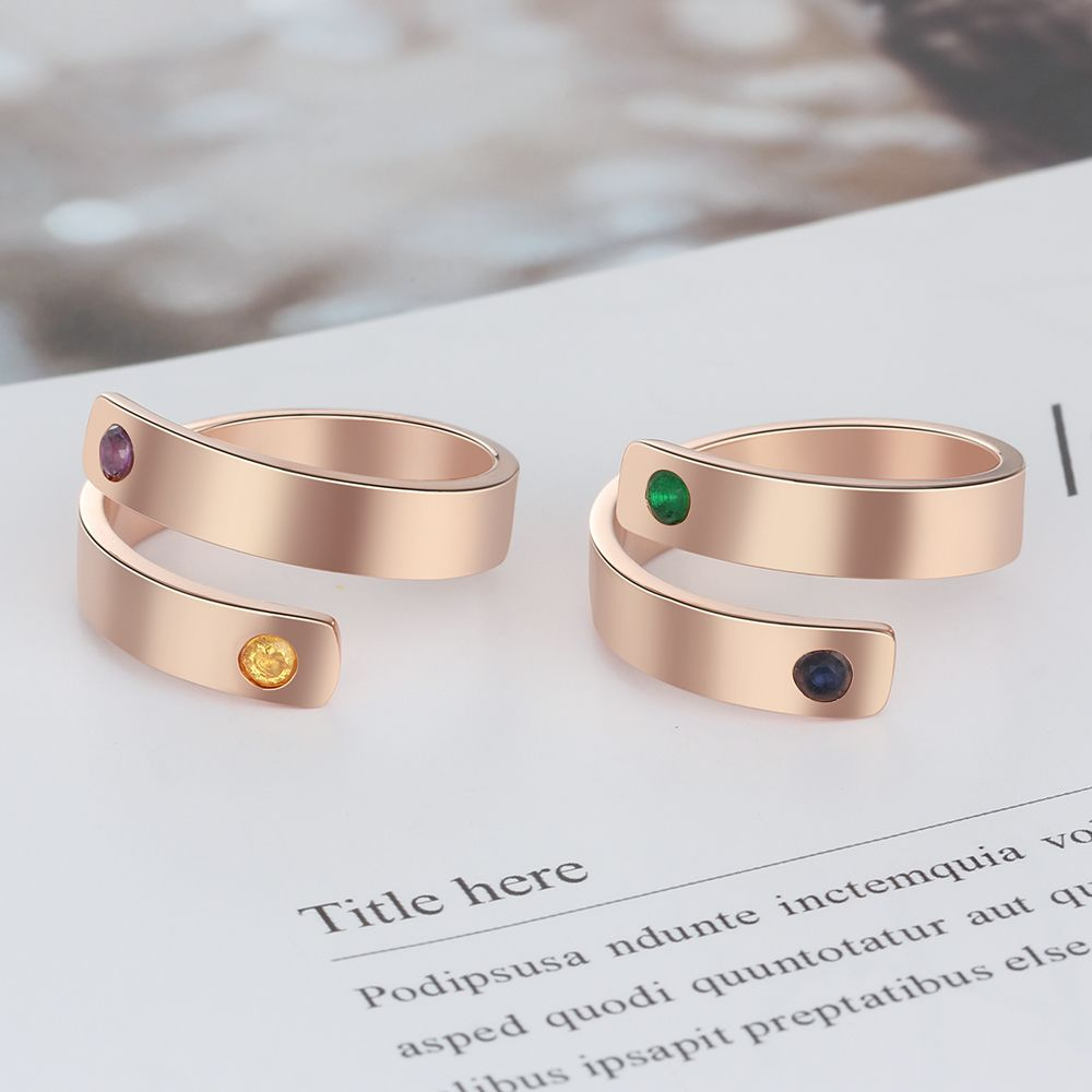 Smooth Golden Personalized Birthstone Ring