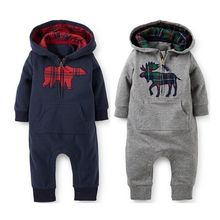 Fleece Baby Romper Boys Girls Deer Long Sleeved Hooded Rompers Jumpsuit One-pieces Winter Baby Boy Clothing0-18M(China)