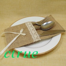 12PC Eco friendly Burlap Silverware Holder Linen Cutlery Holder Rustic Wedding Table Decor Jute Lace Knife Fork Pouch Cover Bags(China)