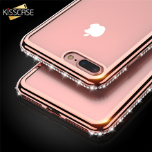 KISSCASE For iPhone 8 5s Case Luxury Plating Rhinestones Silicone TPU Phone Cases For iPhone 6s 7 8 Plus 5s SE Cover Coque Funda