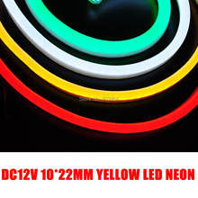 DC12V Mini yellow led neon with white PVC coating,90leds per meter,brand new outside decorate lights,whole sale neon 12V(China)