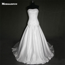 Buy 2017 Real Photos Mermaid Strapless Beaded Lace Appliques Sexy Lace-up Back Wedding Dresses New Bridal Gown for $175.20 in AliExpress store