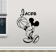 Personalized Mickey Mouse Wall Decal Boy Sport Basketball Ball Custom Name Mickey Mouse Walt Cartoons Vinyl Sticker