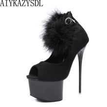 Buy AIYKAZYSDL Sexy 2018 Autumn Women Ultra High Heel Platform Peep Toe Pumps Ankle Strap Plush Real Fur Fetish Shoes Stilettos
