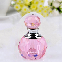 Hot New Vintage Unique Pink Crystal Cut Glass Perfume Refillable Bottle Fashion 1ml Cosmetic Bottle