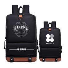 2017 New Canvas Women Printing Backpack BTS Hip Pop WINGS Mochila Feminina School Bags Fashion Laptop Bags Bolsas Feminina