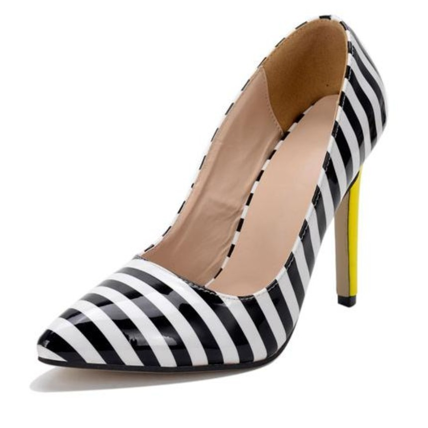 Office Lady Career Dress Shoes Patent Leather Stripped Patch High Heel Pumps Women Slip On Court Shoes Leisure Casual Stilettos<br><br>Aliexpress
