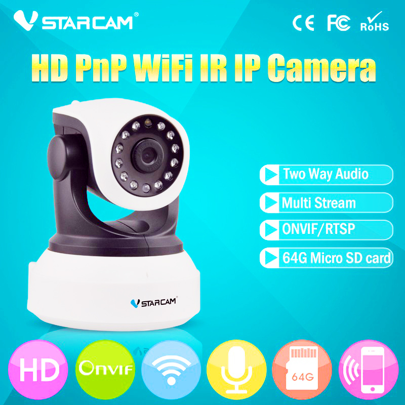 HD 720P Mini Home Night Vision Cameras IP wireless Network Camera WIFI P2P VStarcam C7824WIP with 3db antenna<br><br>Aliexpress