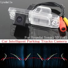 Lyudmila Car Intelligent Parking Tracks Camera FOR Hyundai Sonata YF / i45 2011~2014 HD CCD Back up Reverse Rear View Camera(China)