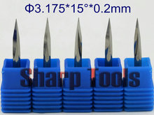 15 Degree 3.175*0.2MM 3-Edge V Cutter wood router bit CNC Engraving tools, Carbide end mill CNC PCB engraving bits router tool(China)