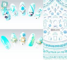 Rocooart DS074 Nail Water Transfer Nails Art Sticker Blue Cross Ring Nail Wraps Sticker Watermark Fingernails Decals(China)