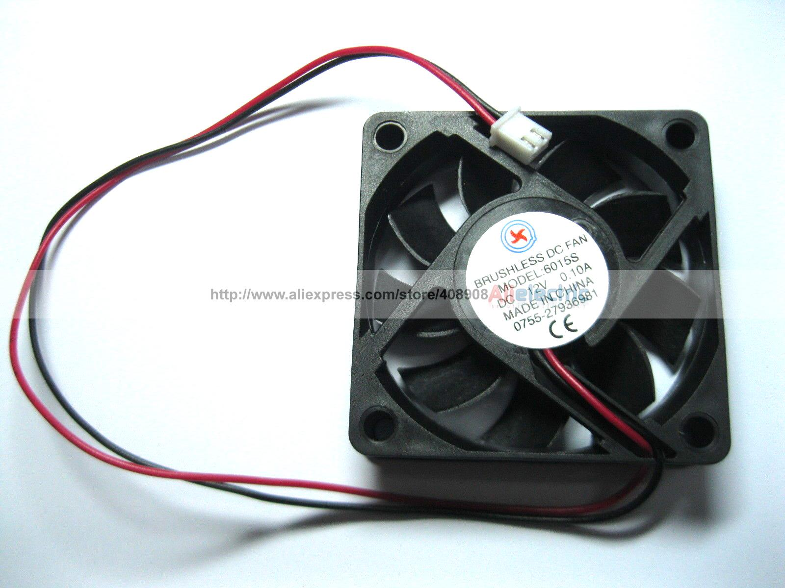 10 Pcs Brushless DC Cooling 7 Blade Fan 6015s 12V 60x60x15mm 2 Wires <br>