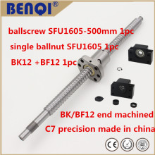 ball screw pair 1605 - L 500mm  with SFU1605 single nut+bk/ bf12 support unit for CNC linear motion with end machined