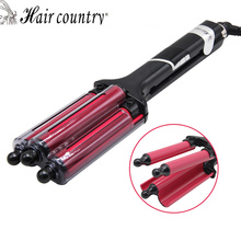 Hair Country Curling Iron Hair Curler 110-220V Perm Splint Titanium Ceramic Hair Curler 3 Barrels Big Waver Rollers Styling Tool(China)