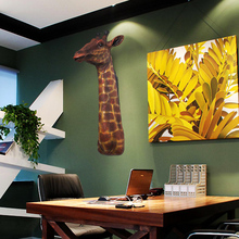 Restaurant decoration wall pendant resin features giraffe custom wall mural simulation animal ornaments special offer
