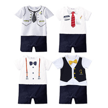 Summer Baby Boy Rompers Newborn Cotton Gentleman Suit Bow Tie Leisure Clothing Toddler Jumpsuits Baby Boys Brand Clothes(China)