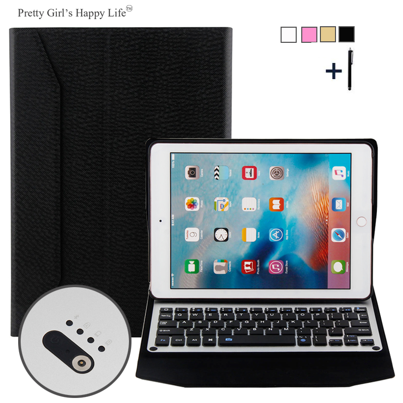 For iPad Pro 9.7 inch 2016 Wireless Bluetooth Keyboard Case For iPad Pro 9.7 2016 Tablet Aluminum Alloy Flip Stand Cover +Stylus<br>