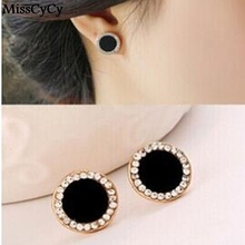 MissCyCy LZ 2016 New Fashion Pendientes Fine Jewelry Allergy Friendly Stud Earrings Rhinestone Round Earrings For Women
