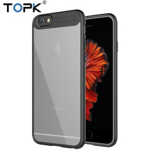 Topk Ultra-thin Anti-drop Clear Tempered Glass & Silicone 2-IN-1 Fashion Design Phone Case For iPhone 6 Plus(China)