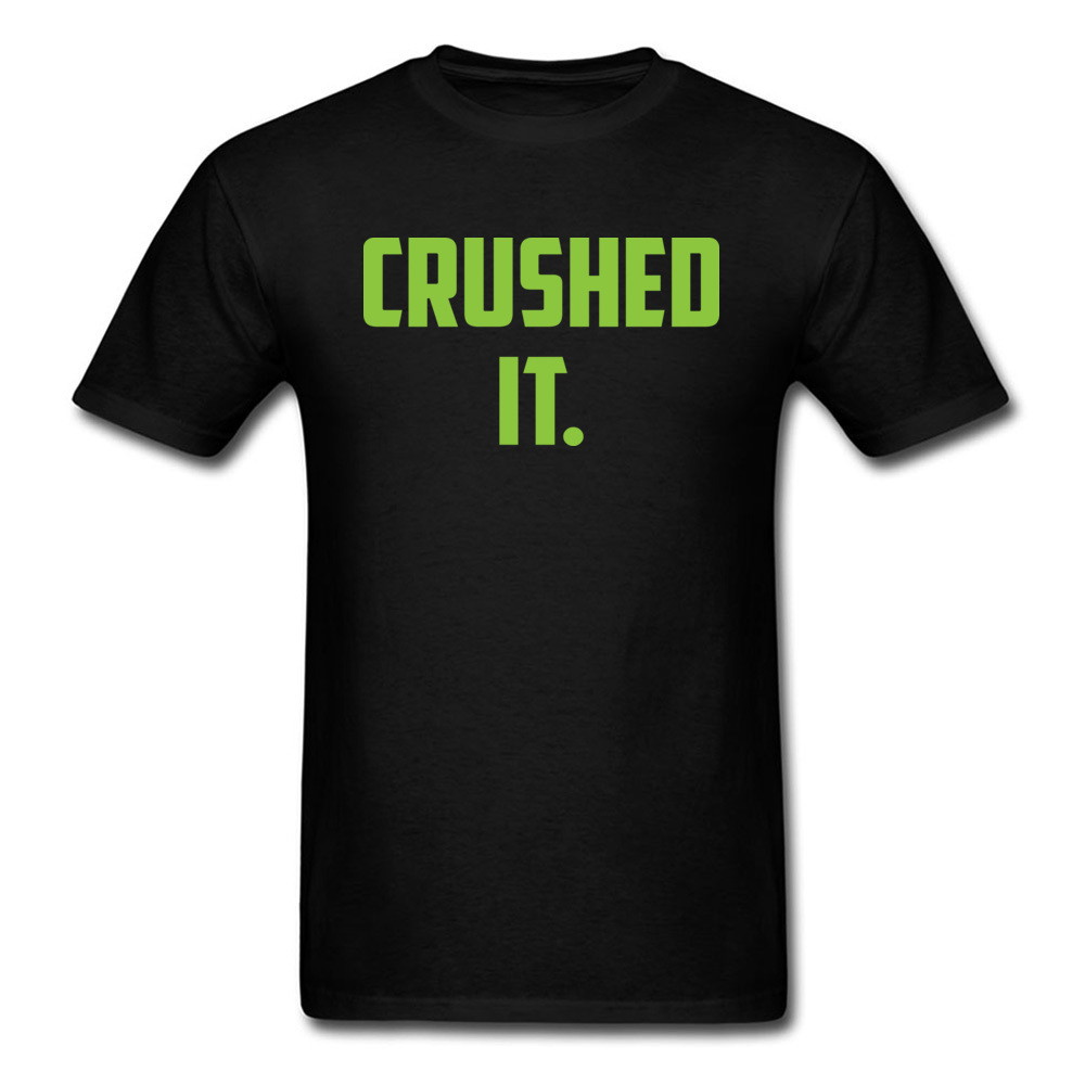 Crushed It Summer T-Shirt for Men Pure Cotton Labor Day Tops Tees Print Tee Shirt Short Sleeve Retro Round Neck Crushed It black