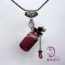 1PCS Murano Glass Perfume Bottle Necklaces, essential oil pendant ,Crystal trinket necklace pendant