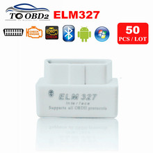 50pcs/Lot Buck Price ELM327 White MINI Bluetooth Latest V2.1 Works Multi-Brand Gasoline Cars ELM 327 BT Adapter Wireless Android