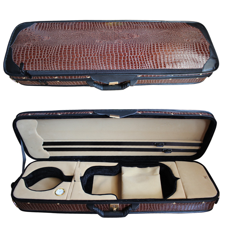 Full Size 4/4 violin case oblong shaped hard case in Crocodile Faux leather<br>