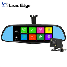 "LeadEdge Z7 7"" Dedicated Car DVR Rearview Mirror android GPS navigation dual lens Registrator Dash Camera Cam Video Recorder"