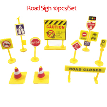 Wholesale 10pcs/set DIY model scene toy sign road sign roadblock traffic sign Montessori toys for children PVC mini figures gift