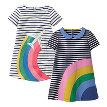 Buy 2pcs Baby Girls Dress Christmas Kids Summer Dresses Girls Clothes Rainbow Striped Princess Dress Flower Children Costumes for $13.37 in AliExpress store