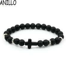 ANILLO Brand Wholesale Unisex Natural Stone Cross Men Bracelet Hand Work Black Onyx Volcano Matte Beaded Bracelets Pulseiras