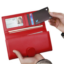 Tri-fold Rfid Blocking Security Leather Women Purse RFID Blocking Magic Wallet for Ladies Gifts(China)