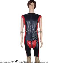 Buy Black Red Sexy Latex Catsuit Codpiece Penis Holes Front Zipper Rubber Bodysuit Overall Zentai Body Suit LTY-0023