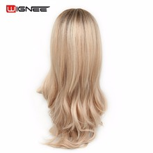 Wignee Middle Part Synthetic Women Wavy Cosplay Wigs Ombre Color Brown White Blonde High Temperature Halloween Natural Hair Wigs(China)