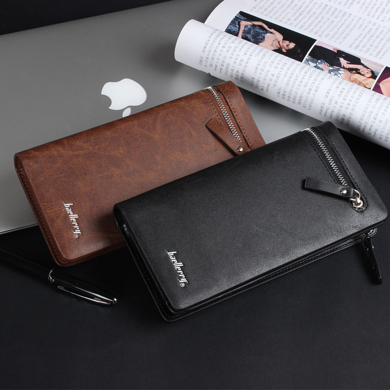 Free Shipping new business wallet mens long zipper purse PU Leather section of the multicard handbag C08-16<br><br>Aliexpress