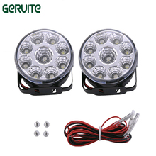 2pcs White 12V 9 LED DRL Round Daytime Running Light Car Tail Fog Day Driving Lamp car for Truck Van SUV ATV Motorcycle Bike