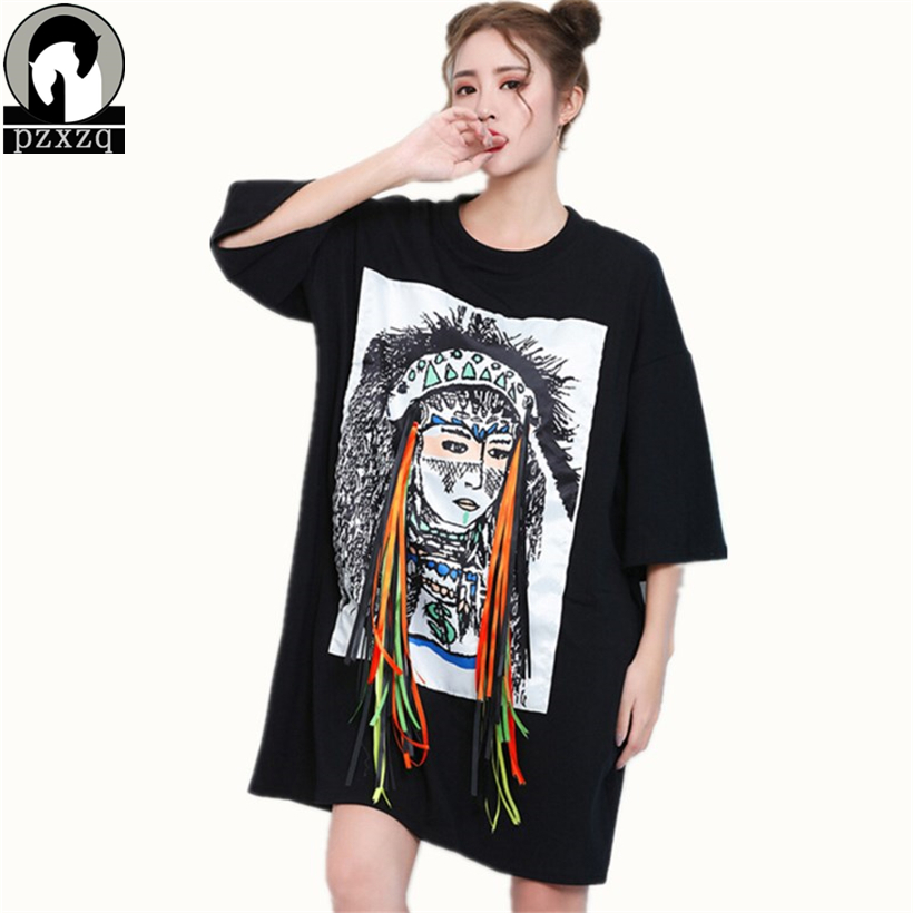 2017 Summer Dress Women Indian pattern print ribbon tassel Dresses Ladie Large size loose Vintage cotton T-shirt Dress vestidos(China)