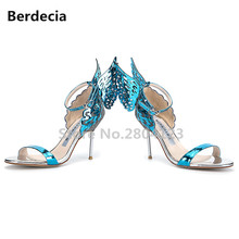 Berdecia Metal Butterfly Back Sanfals Women Shoes Gladiator Summer Pump High Heels Zapatos Mujer Ankle Strap Europe Design Style