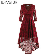 Buy 2018 Sping Vintage Lace Dress 3/4 Sleeve Slim Elegant Dresses Deep V Neck Sexy Evening Party Asymmetrical Womens Dress for $22.40 in AliExpress store