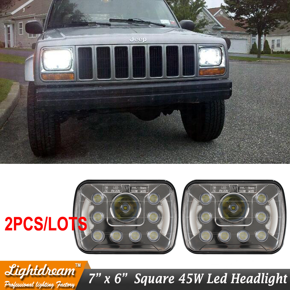 5x7 inch LED Rectangular Headlight Driving Light for Cherokee XJ Trucks 7x5 Led Headlights 5*7 H4 H/L for Motorcycle Car 2pcs<br>